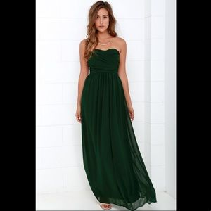 Dark green strapless maxi dress